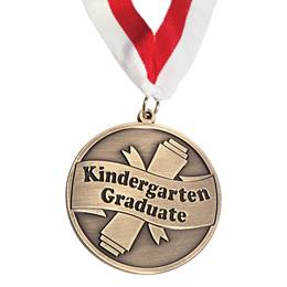 Kindergarten Graduate Sculpted Brass Medallion