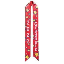 2021 Graduation Sash - Red and Yellow Stars